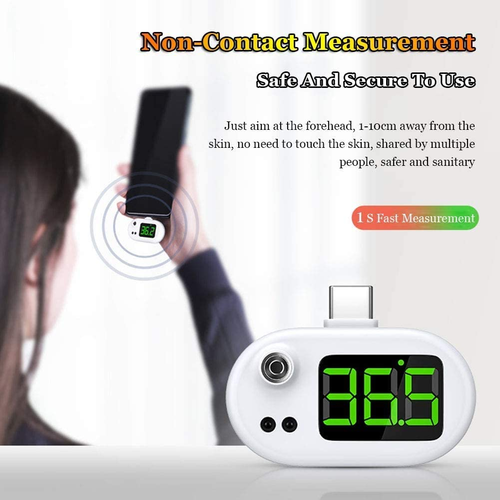 Android and Type-C WRQ Portable USB Infrared Thermometer 1 Second Quick Measurement with LED Digital Display No-Touch for USB I-Phone