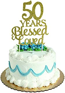 50 Years Blessed & Loved Cake Topper for 50th Birthday, Wedding Anniversary Party Decorations Gold Glitter