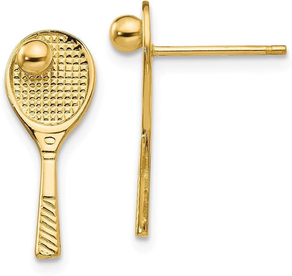 14k Yellow Gold Tennis Racquet w/Ball Post Earrings (18mm x 7mm)
