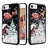 iPhone 7 Case, Caka iPhone 6 6S 7 8 Glitter Case Christmas Bling Shinning Flowing Floating Snowflake Luxury Liquid Sparkle Soft TPU Snowflake Glitter Black Case for iPhone 6 6S 7 8 (4.7 inch) (Silver)
