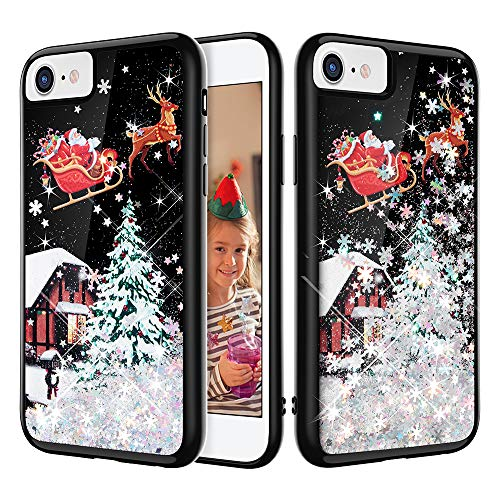 iPhone SE 2020 Case, Caka iPhone 8 Glitter Case Christmas Bling Flowing Floating Luxury Liquid Sparkle Snowflake Soft TPU Black Glitter Case for iPhone 7 8 SE 2020 (4.7 inch) (Silver)