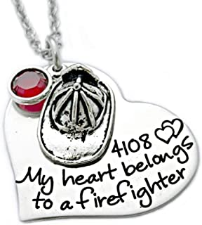 Heart Belongs to a Firefighter Necklace - Personalized Jewelry - 1106
