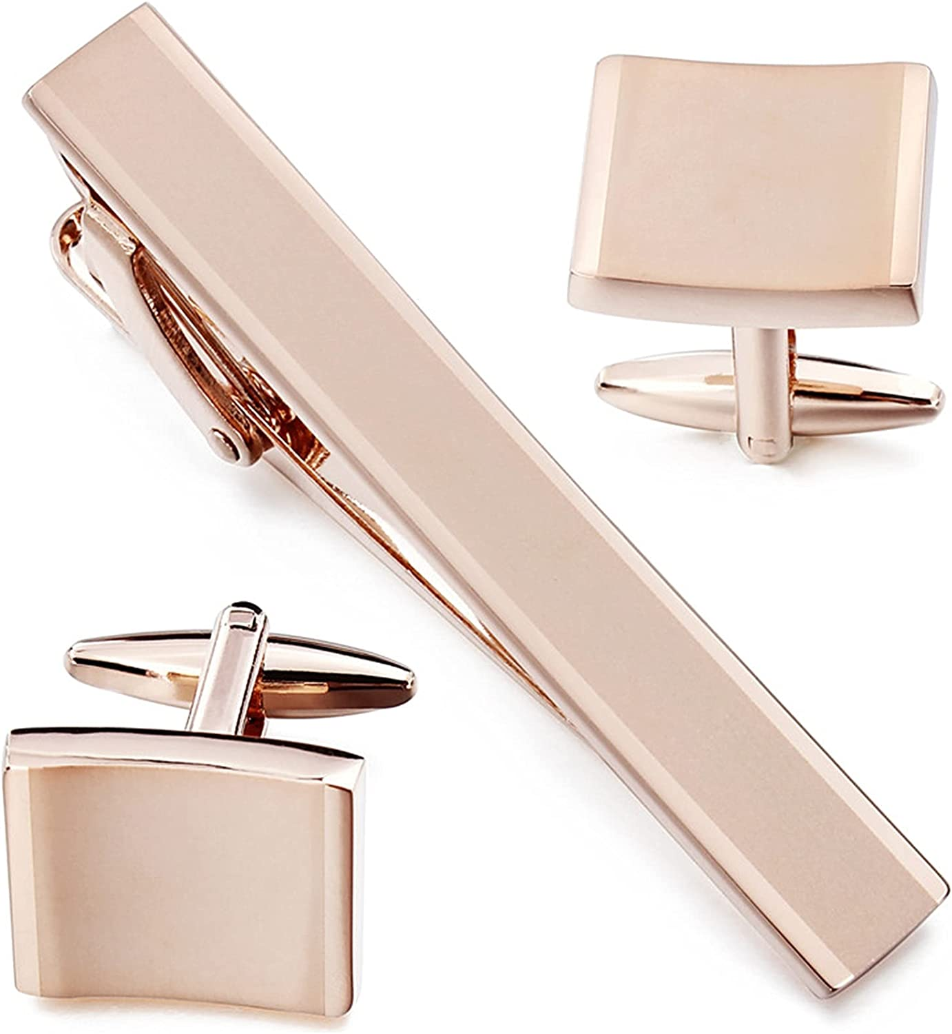 ZSZJ Tie Clips Rose Gold Metal Cuff Link Tie Clip Set Blank Cufflinks Cufflinks (Metal Color : Rose Gold Color)
