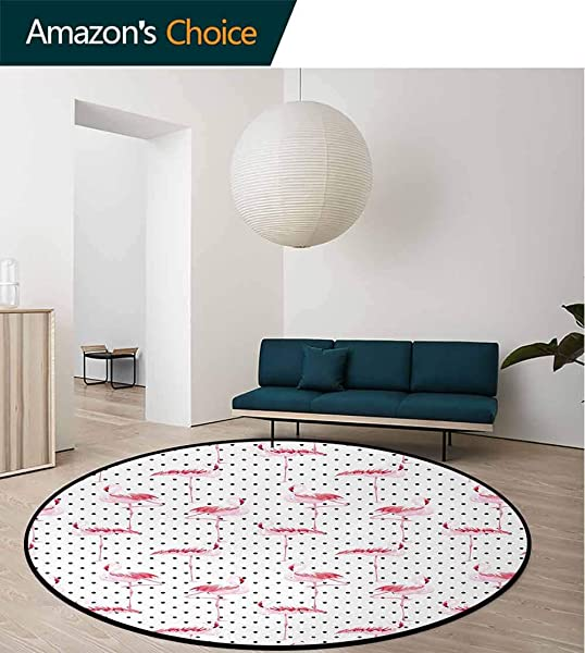 Retro Round Kids Rugs Flamingo Birds On Minimalist Stylized Polka Dots Background Lovely Illustration Learning Carpet Non Skid Nursery Kids Area Rug For Playroom Round 31 Inch Pale Pink White