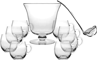 Glass 10 Piece Punch Bowl Set - Includes - 1 Punch Bowl - 1 Ladle - 8 Punch Cups - By Barski - Punch Bowl is 10.25