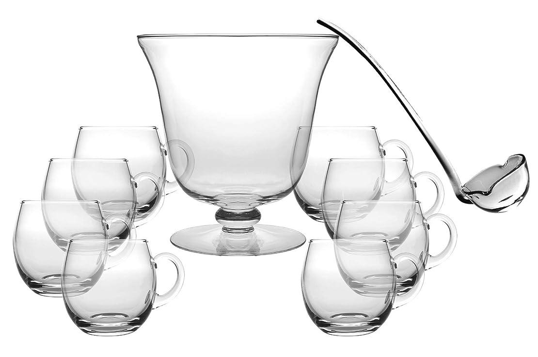 マオリ誓う理由ガラス製パンチボウル10点セット - パンチボウル1個 - おたま1個 - パンチカップ8個 - Barski製 - パンチボウルは直径10.25インチ - 210オンス - おたまは長さ14インチ - パンチカップは12オンス - ヨーロッパ製