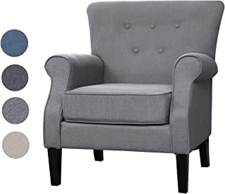 Top Space Accent Chair Sofa Mid Century Upholstered Roy Arm Single Sofa Modern Comfy Furniture for Living Room,Bedroom,Club,Office (1 PCs,Gray)
