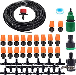 Lhx Nozzles Irrigation System Misting Automatic Watering Garden Hose Spray head with 4/7' PE Hose and Cconnector 15m (15)
