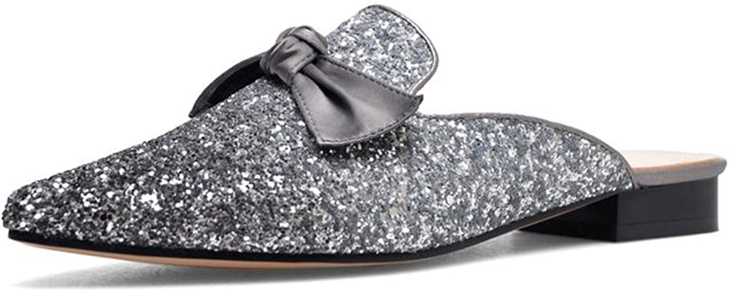 New Woman Flat Mules Pointed Toe Outdoor Casual Female shoes Bling Mixed colors Slides Butterfly-Knot Flats Black