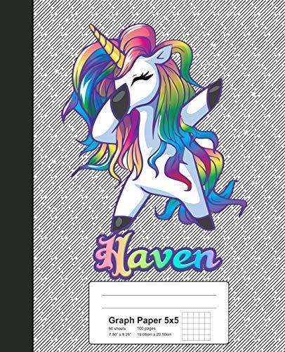 Graph Paper 5x5: HAVEN Unicorn Rainbow Notebook (Weezag Graph Paper 5x5 Notebook, Band 700)