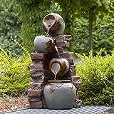 Köhko® Gartenbrunnen Riesa mit Mauerwerk und Krügen Wasserfall Wasserspiel für