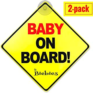 Biebie's Baby on Board Suction Cup Sticker Decal for Cars – Bold & Visible – Portable & Removable – Weather Resistant – Alert Other Drivers You Have a Baby in the Car (2 Pack)