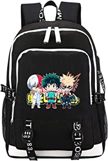 My Hero Academia School Bag Anime Travel Backpack USB Charging Laptop Backpacks Bakugou Katsuki Cosplay Bags Rugzak (d)
