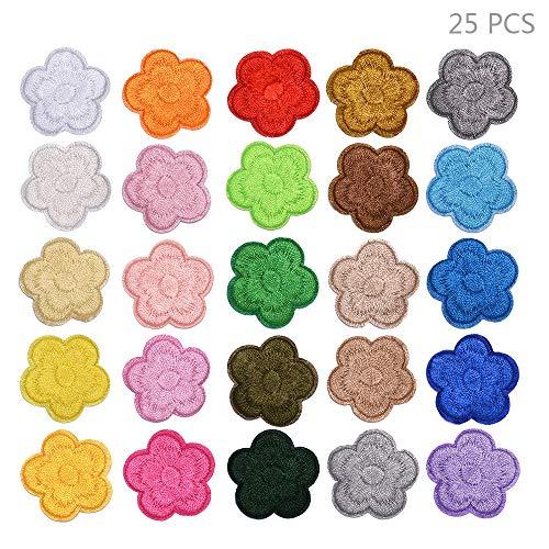 Juland 25PCS Mini Pflaume Blühen Bestickte Patches zum Aufbügeln mit Hitze oder zum Aufnähen Gestickte individuelle Rucksack-Aufnäher für Männer, Frauen, Jungen, Mädchen, Kinder