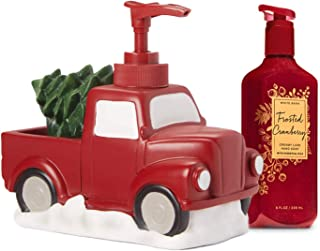 Charmed By Dragons Vintage Red Truck Soap Dispenser with Frosted Cranberry Soap Christmas Farmhouse Decor Gift Set (Soap Pump Set)