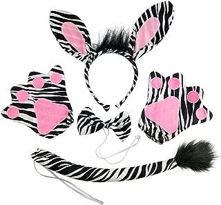 Amosfun Kids Animal Costume Ears Headband Bowtie Tail Set Fancy Dress Up Zebra Costume Accessories for Halloween Party Costumes