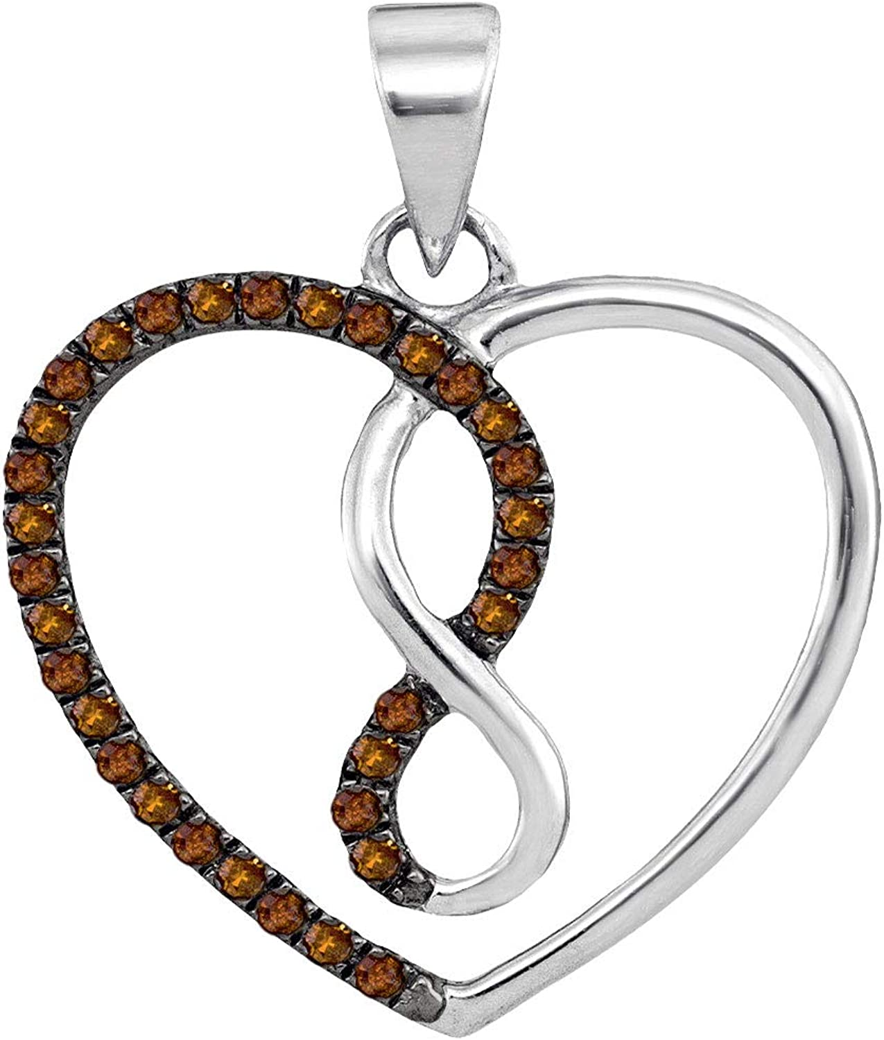 10kt White gold Womens Round Cognacbrown color Enhanced Diamond Heart Infinity Pendant 1 8 Cttw