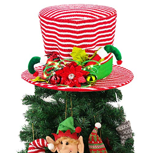 Christmas Tree Topper, Lighted Red & White Stripes Top Hat Ornament Tree Decoration for X'Mas/Holiday/Winter Wonderland Party Decoration Supplies