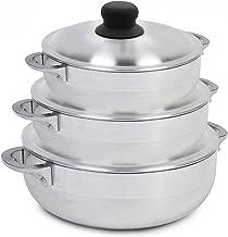IMUSA USA GAU-89226 3 Piece Polish Aluminum Caldero Set, Silver (Dutch Oven Set)
