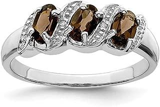 Cyber Monday Deals - 925 Sterling Silver Smoky Quartz Diamond Band Ring Stone Gemstone Fine Jewelry For Women Gift Set