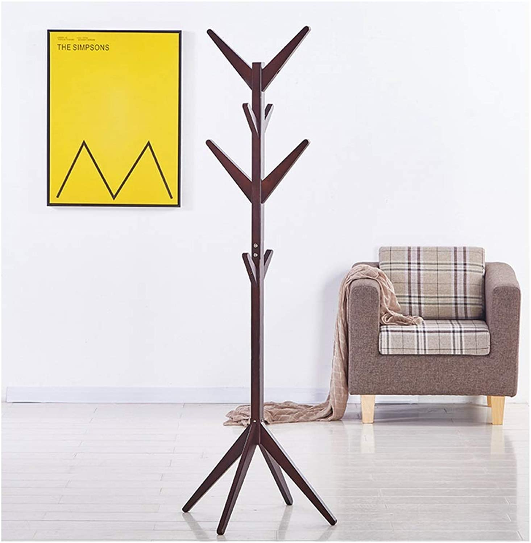 XIAOLONG Standing Coat Rack Clothes Wood Hall Tree,Entryway Standing Hat Jacket Coat Hanger Rack,for Bedroom & Living Room -45 (color   Brown)