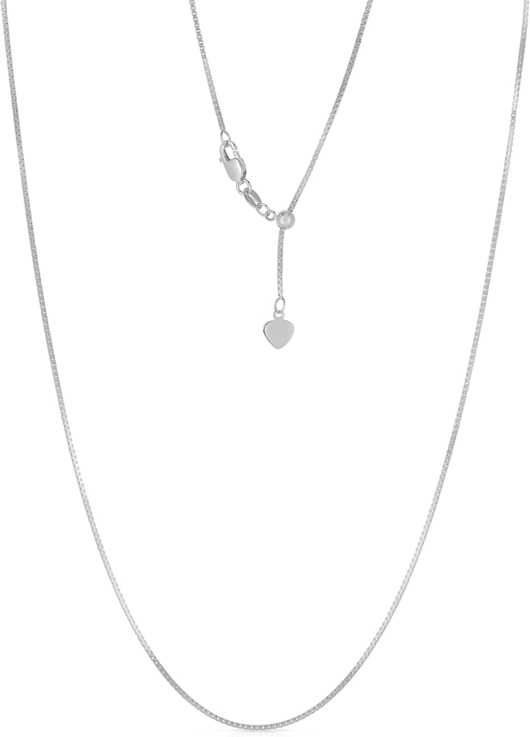 """Floreo 10k Yellow or White Gold 0.7mm Adjustable Box Chain Necklace, 22"""""""