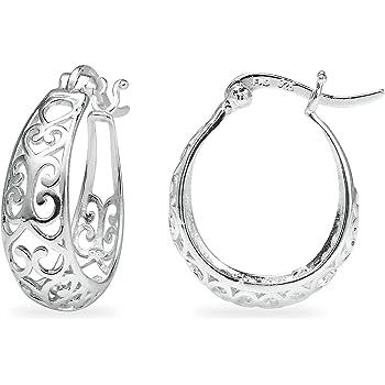 Sea of Ice Sterling Silver Filigree Teardrop Dangle Earrings for Women Girls