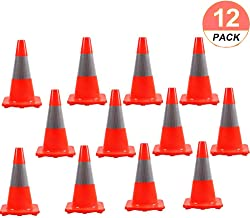 """[ 12 Pack ] Orangeplas 18"""" Orange PVC Traffic Safety Cone Construction Cone Road Parking Cones Weighted Hazard Cones with 6"""" Reflective Strips Collar"""