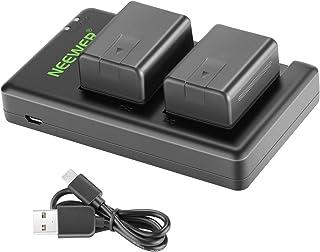 Neewer VW-VBT190 Battery (2-Pack/1950mAh) and Dual USB Charger Kit Compatible with Panasonic HC-V110 V130 V160 V180 HC-V20...