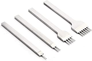 Leather Punch Tool, White Steel 4mm 1/2/4/6 Prong DIY Diamond Lacing Stitching Chisel Set Leather Craft Kits
