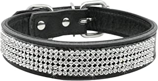 Beirui Dog Collar with Rhinestones - Soft Bling Genuine Padded Leather Made Sparkly Crystal Diamonds Studded -Perfect for Pet Show & Daily Walking