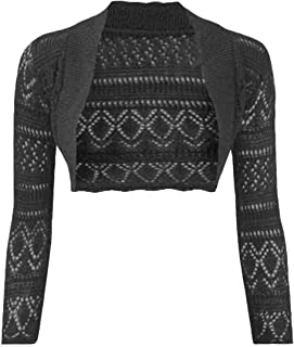 Women Long Sleeve Knitted Crochet Shrug Bolero Cardigan Ladies Crop Top
