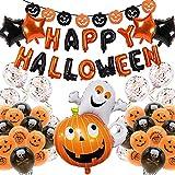 Globos decorativos para Halloween, decoración de fiesta de Halloween con guirnalda de Halloween, calabaza, espíritu y cráneo, globos de látex, globos para casa, mesa o jardín.