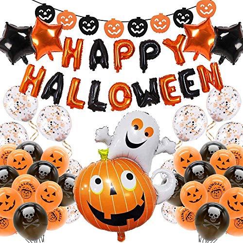 Palloncini di Halloween, Decorazione Halloween Palloncini per Feste con Banner di Palloncini HAPPY HALLOWEEN, Palloncini in Lattice con Teschio,Zucca,Palloncino in Foil,Palloncini con Coriandoli