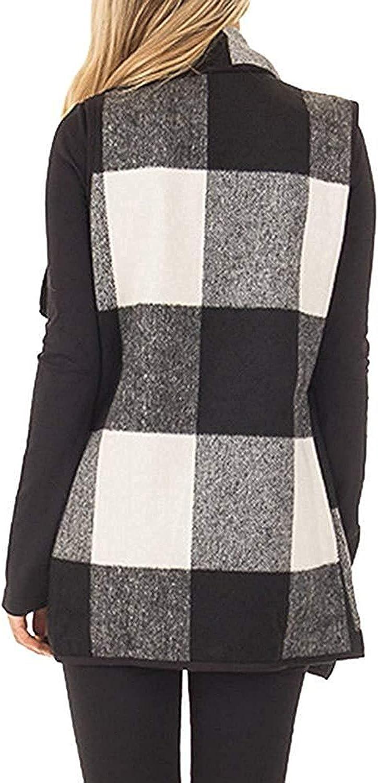 Women Buffalo Plaid Vest Sleeveless Cardigan Open Front Casual Jacket Outerwear Winter