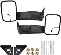 Qiilu 2pcs/Set Black Manual Textured Folding Towing Mirror (YH3342-M-B) Fit for Dodge RAM 1500 1994-2001 2500 3500 1994-2002