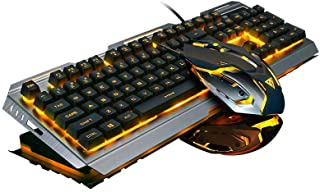 Keyboard and Mouse Combo, Wired Gaming Keyboard Orange Yello