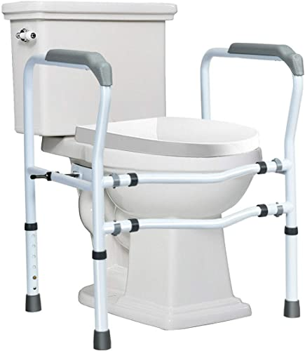 high quality Giantex Toilet Safety Rail Free Standing Safety high quality Assist Frame W/ 360°Rotatable Clip,Adjustable Height & Width Toilet Armrest, 300 online sale LBS Weight Capacity for Disable Elderly Commode Stability Handrails sale