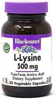 Bluebonnet L-Lysine 500 mg, 50 Vegetable Capsules