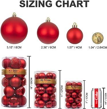 KI Store Red Christmas Ball Ornaments 34pcs Small Shatterproof Christmas Tree Balls for Xmas Tree Decoration DIY Handcraft Or