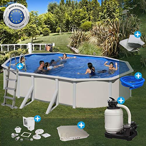 Paradies Pool Gre Becken Komplettset oval, 375x610x120cm (B x L x H), Stahlwandbecken grau, Poolplane in Adriablau, Swimmingpool, breiter Handlauf, Menge: 1 Stück