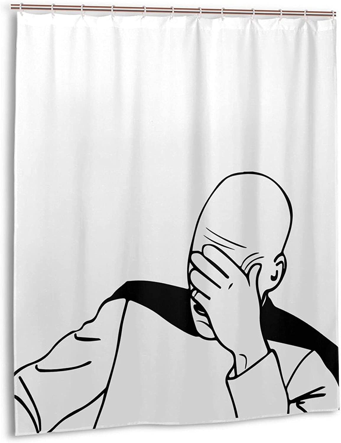 Cheap bargain Captain Picard Facepalm Troll At the price of surprise Guy Bathroom Curtain Designed for