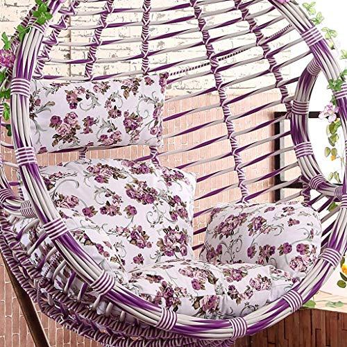 kaikai Silla Colgante Huevo Cojín, Colgando del Patio del jardín de ratán Silla balancín Cojines del Amortiguador, Tamaño: 50 x 56 Pulgadas (Color: B) (sin Silla) (Color : H)