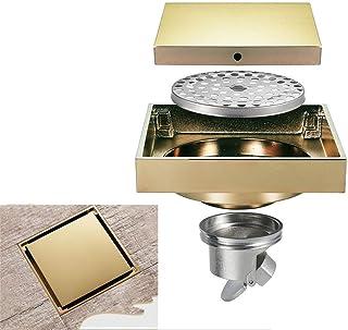 Brass Bathroom Drainer With Hair Strainer for Kitchen Washroom Garage Basement Color : Copper Invisible Shower Floor Drain Tile Insert 4 Inch Square Shower Floor Drain Removable Cover