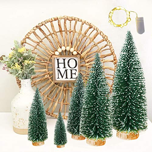 VOSTOR Desktop Pine Trees 5 Pcs, Desktop Decorations Tree with Wood Base, Tabletop Mini Sisal Trees with 1 Pcs 3.3ft LED Light Snow Frosted Trees Ideal for Party Decor