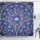 ABAKUHAUS Blumen Duschvorhang, Orientalisches Kreisdesign, mit 12 Ringe Set Wasserdicht Stielvoll Modern Farbfest & Schimmel Resistent, 175x200 cm, Marineblau Weiß & Blau