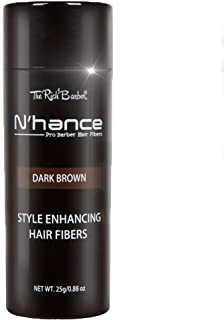 The Rich Barber N'Hance Hair Fibers | Pro Barber Hair Thickening Fibers | Grey Hair Concealer Spray | Three Natural Colors | for Sharper Hairlines, A Thicker Beard & Fuller Hairstyling (Dark Brown)