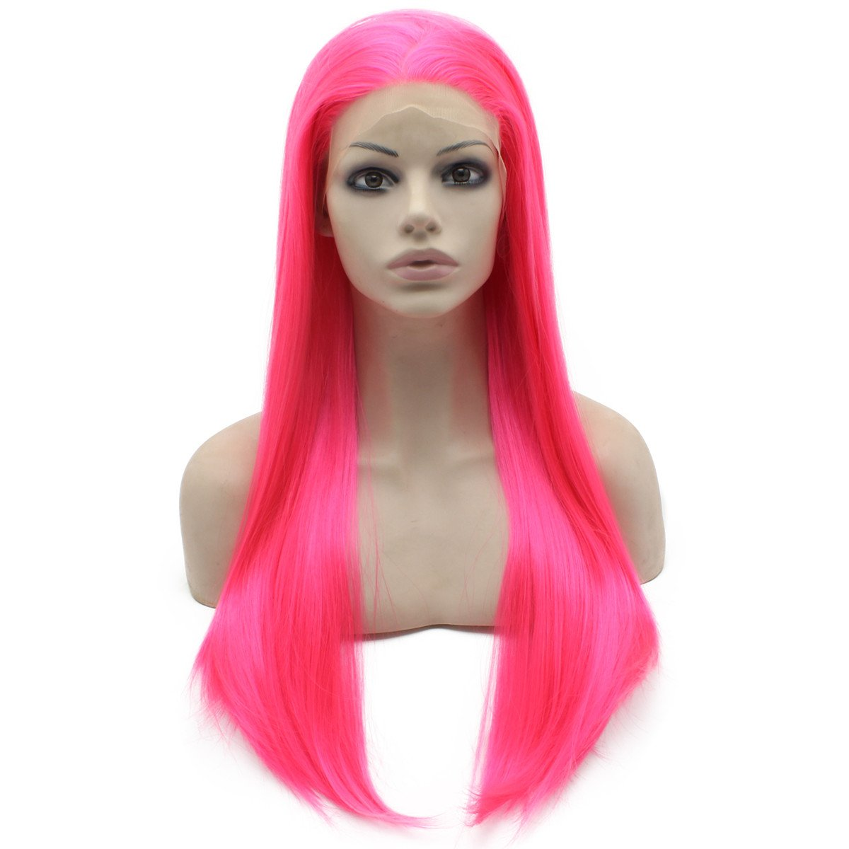 Mxangel Long Straight Hot Pink Costume Synthetic Front lace 2021 model Part Tulsa Mall