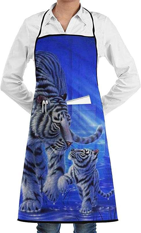 NRIEG Baby Tiger Faction Unisex Kitchen Cooking Garden Apron Convenient Adjustable Sewing Pocket Waterproof Chef Aprons