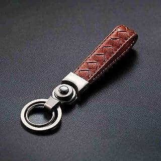 Elegdy Keyfob Genuine Leather Car Keychain Auto Men Key Ring Creative Car Key Buckle Vintage Keyfob Accessories (Color : B...